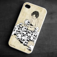 IPhone Case boy holding skull TPU Gel Silicone Cover iPhone 4/4S gothic art original black white