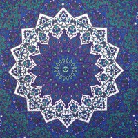 Blue Psychedelic Hippie Tapestry Wall Hanging Mandala Tapestries Wall Hanging Indian Wall Tapestries for Dorms, Bohemian Decor Queen Bedding, Large Tapestries Beach Blanket