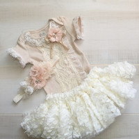 Newborn Girl Take Home Outfit-Lace Baby Girl Coming Home Outfit-Newborn Lace Tutu Gown Headband-Baby Girl Outfits-Newborn Lace Outfit Girl