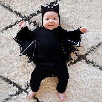 Halloween Cosplay Baby Girl Boy Clothes Balck Bat Costume Long Sleeve Rompers Jumpsuit With Hat Outfits Baby Unisex Clothes #LR1