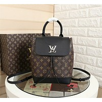 LV Louis Vuitton MONOGRAM LEATHER LOCKME BACKPACK BAG