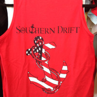 Southern Drift Anchor Tank- Red , White, Blue in Comfort Colors