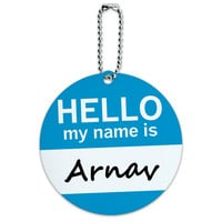Arnav Hello My Name Is Round ID Card Luggage Tag
