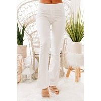 With Every Move Mid-Rise Flare Jeans (White)