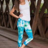 Cloudy With A Chance Of Fun Crop Yoga Pants, Blue-Lime