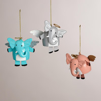 Metal Elephant with Halo and Dangle Legs Ornaments, Set of 3