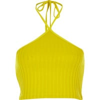 River Island Womens Yellow ribbed halter neck crop top