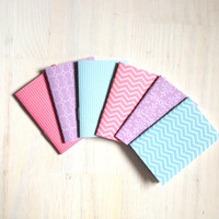 Notebooks: 6 Tiny Journal Set, Pink, Purple, Blue, Small Notebooks, For Her, For Him, Gift, Unique, Mini Journals, Party, Wedding, T110