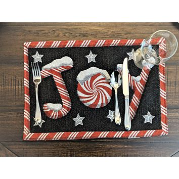 """DaDa Bedding Set of 4 PCs Peppermint Joy Holiday Tapestry Placemats 13"""" x 19"""" (12904)"""