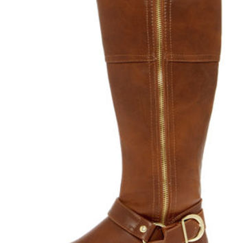 Soda Salsa Dark Tan and Gold Harness Riding Boots