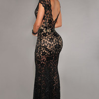 Short Sleeves Low Back Black Floral Lace Evening Dress