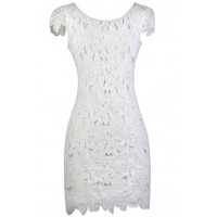 Lily Boutique White Lace Pencil Dress, White Capsleeve Lace Dress, White Lace Rehearsal Dinner Dress, White Lace Bridal Shower Dress Lily Boutique