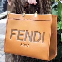 Fendi Fashion New Letter Print  Leather Shoulder Bag Handbag Crossbody Bag Brown