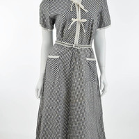 40's Black White Gingham Check Shirtwaist Style Day Dress-M