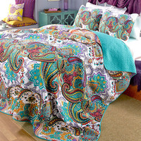 Comforter Sham Turquoise Paisley Reversible Full/Queen/King Boho Bedding