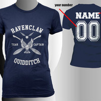 Custom Name and Number on back, Ravenclaw Quidditch team Captain White print on Navy Women tee