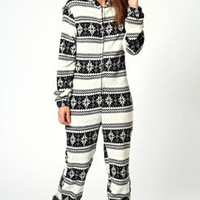 Imogen Fairisle Design Supersoft Hooded Onesuit