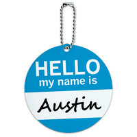 Austin Hello My Name Is Round ID Card Luggage Tag