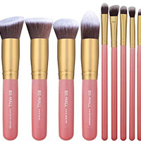 BS-MALL New 14 Pcs Premium Synthetic Kabuki Makeup Brush Set Cosmetics Foundation Blending Blush Eyeliner Face Powder Brush Makeup Brush Kit(golden Pink)
