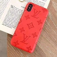 Louis Vuitton LV Newest iPhone Phone Cover Case For iphone 6 6s 6plus 6s-plus 7 7plus iPhone X XR XS XS MAX Red