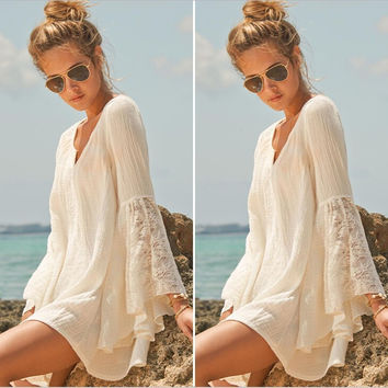 Hippie boho mini dress