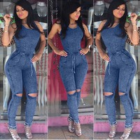 Bandage Denim Jumpsuit Long Pants Bodysuit Blue Jean Jumpsuits for Women