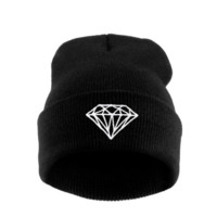 Unisex Foldable Knitted Diamond Printed Pattern Beanie