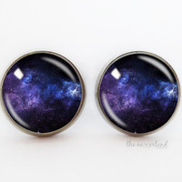 Dark blue galaxy ring / stud earrings, Universe jewelry, woman gift, glass cabochon jewellery by The Neverland