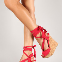 Bamboo Peep Toe Ankle Wrap Cork Platform Wedge
