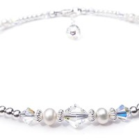 Silver Crystal Beaded Ankle Bracelets  | Aquamarine March Birthstone Anklets