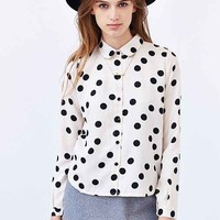 Compania Fantastica Polka Dot Button-Down Blouse- Ivory