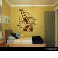 Custom Excavator Decal - Personalized - Wall Art - Kids Room - Custom Kids Name - Custom Decal - Gift Idea - Kids Room Decor - Playroom