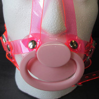 ABDL, Sissy 5 Point Fully Adjustable Vegan PVC Head Harness PaciGag (6 ring design)