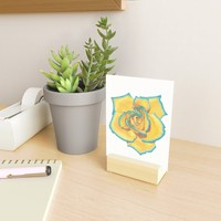 Yellow and Turquoise Rose Mini Art Print by drawingsbylam