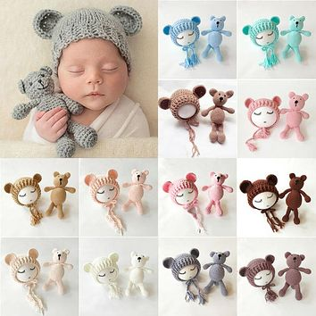 Baby Knit Bear Hat and Knit Bear Newborn Prop