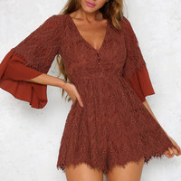 Travelling Fairy Playsuit Rust