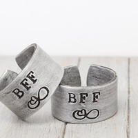 TWO BFF Rings, Infinity BFF Ring, Friendship Rings, Friends Rings, Friendship Jewelry, Handstamped Jewelry, Hand Stamped Rings