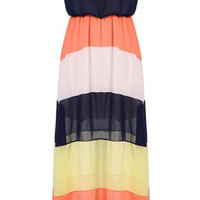 Color Block Strapless Maxi Dress