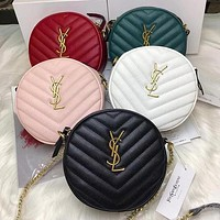 Hipgirls YSL Yves Saint Laurent New Women's Letter Buckle Retro Round Pie Bag Diagonal Crossbody Bag