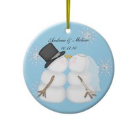 Kissing Snowmen Married Our First Christmas Christmas Tree Ornaments from Zazzle.com