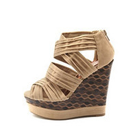 Strappy Sueded Printed Wedge: Charlotte Russe