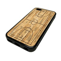 Apple iPhone 5C 5 C Case Cover Basketball Court Diagram Mens Cool DESIGN BLACK RUBBER SILICONE Teen Gift Vintage Hipster Fashion Design Art Print Cell Phone Accessories