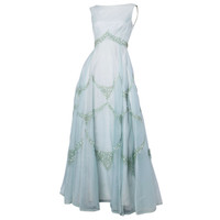 Emma Domb Vintage 1960s 60s Sheer Mint Green-Blue Sequin Maxi Dress/ Gown