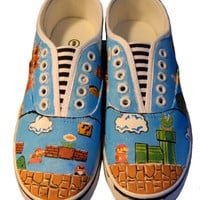 Super Mario Brothers Hand Painted Sneakers by CatherineLaPointe