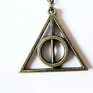 Harry potter jewelry Harry potter bronze Deathly Hallows Necklace -shipped from USA