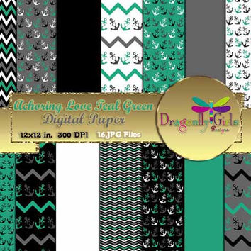 80% OFF Sale Anchoring Love Teal Green  ,paperpacks, commercial use, digital scrapbook papers, vector graphics, printable, Instant Download