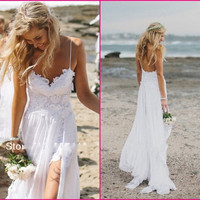2015 Beach Wedding Dresses Sexy Backless White Spaghetti See Through Sweep Train High Low Lace Chiffon Sheer Sexy Bridal Gown Dress CPS071 under 70$ = 1932186948