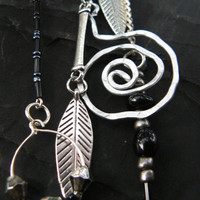 silver leaf ear cuff wrap hammered spiral hoops beads chains in tribal gypsy boho hippie belly dancer and  native american inspired
