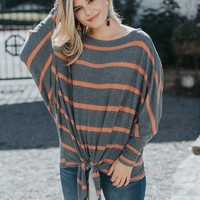 Striped Fleece Knit Top, Charcoal