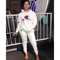 Champion Autumn Winter Women Fashion Hoodie Top Pants Two Piece Set White